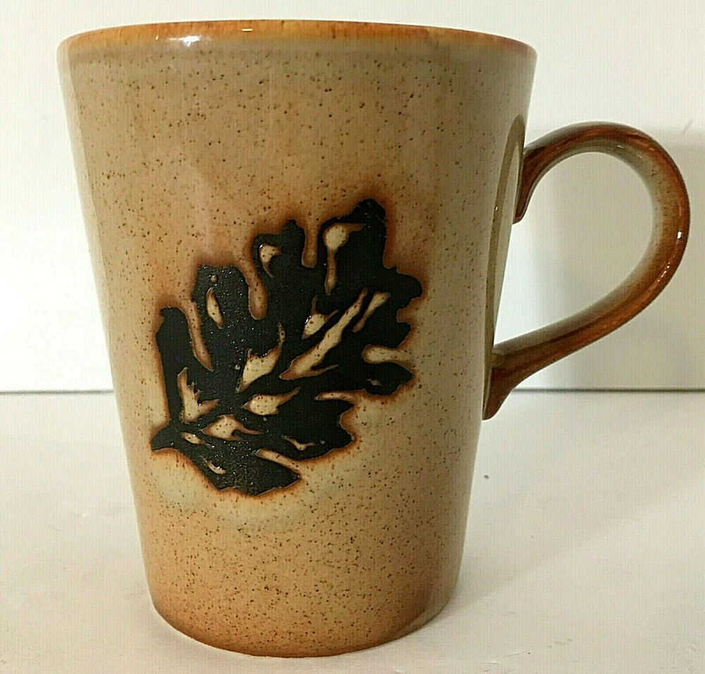 Just Mugs Coffee Mug Cup Tan With Brown Maple Leaf Made In