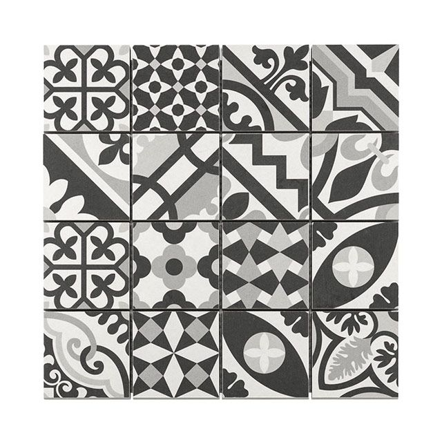 Mosa que carreaux de ciment blanc noir 7 x 7 cm castorama deco wc pinterest ciment blanc for Carrelage imitation carreaux de ciment castorama