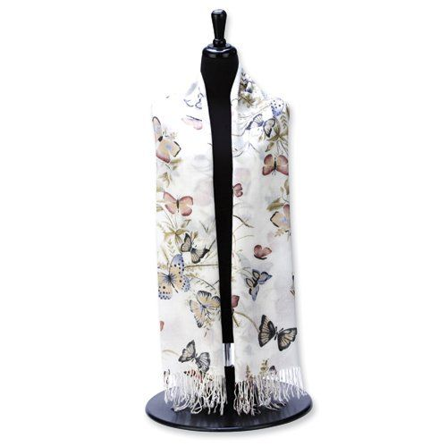 White, Blue & Rose Butterfly Design Pashmina Fashion Scarf $22.50