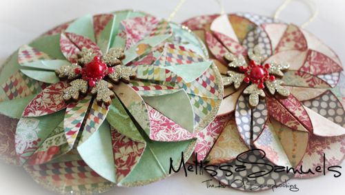 Video Tutorial~Folded Ornaments @Jamie Wise Dorobek {C.R.A.F.T.} Gossip: Melissa Samuels is sharing the steps for making these folded ornaments in a video tutorial. It's all part of her recent series : A Week of Christmas Ornaments. Click HERE to go to the tutorial.
