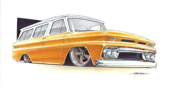 Chevy Suburban Hot Rod Rendering By 1320 Designs Car Drawings Cool Car Drawings Foose