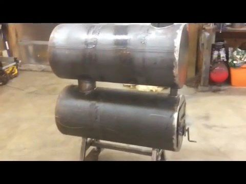 Diy Video How To Build A Homemade Double Barrel Garage Heater Out Of Old Water Tanks Efficient Clean Burn And Garage Heater Shop Heater Solar Energy Panels