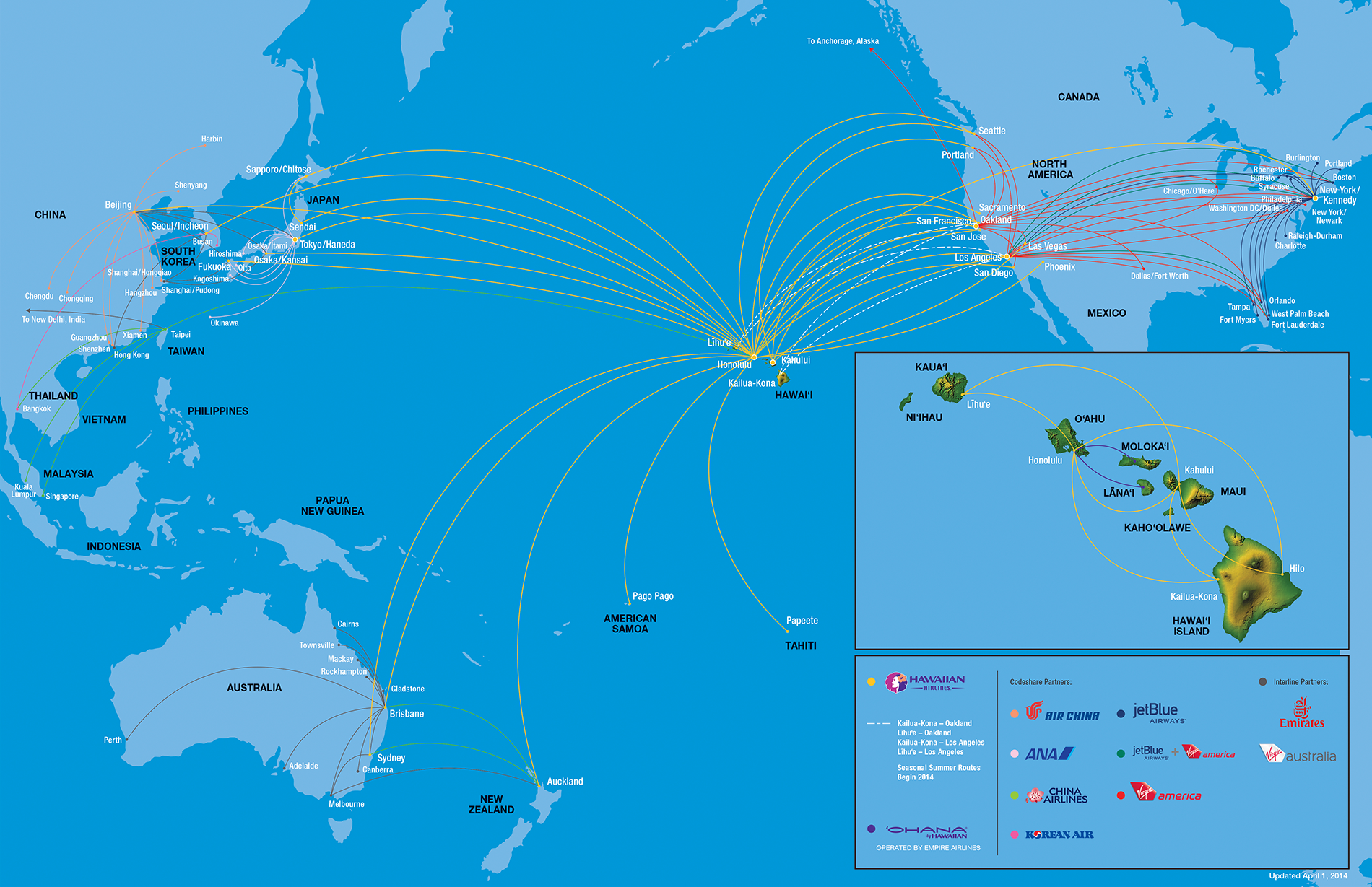 Hawaiian Airlines route map Travel Hawaii Pinterest