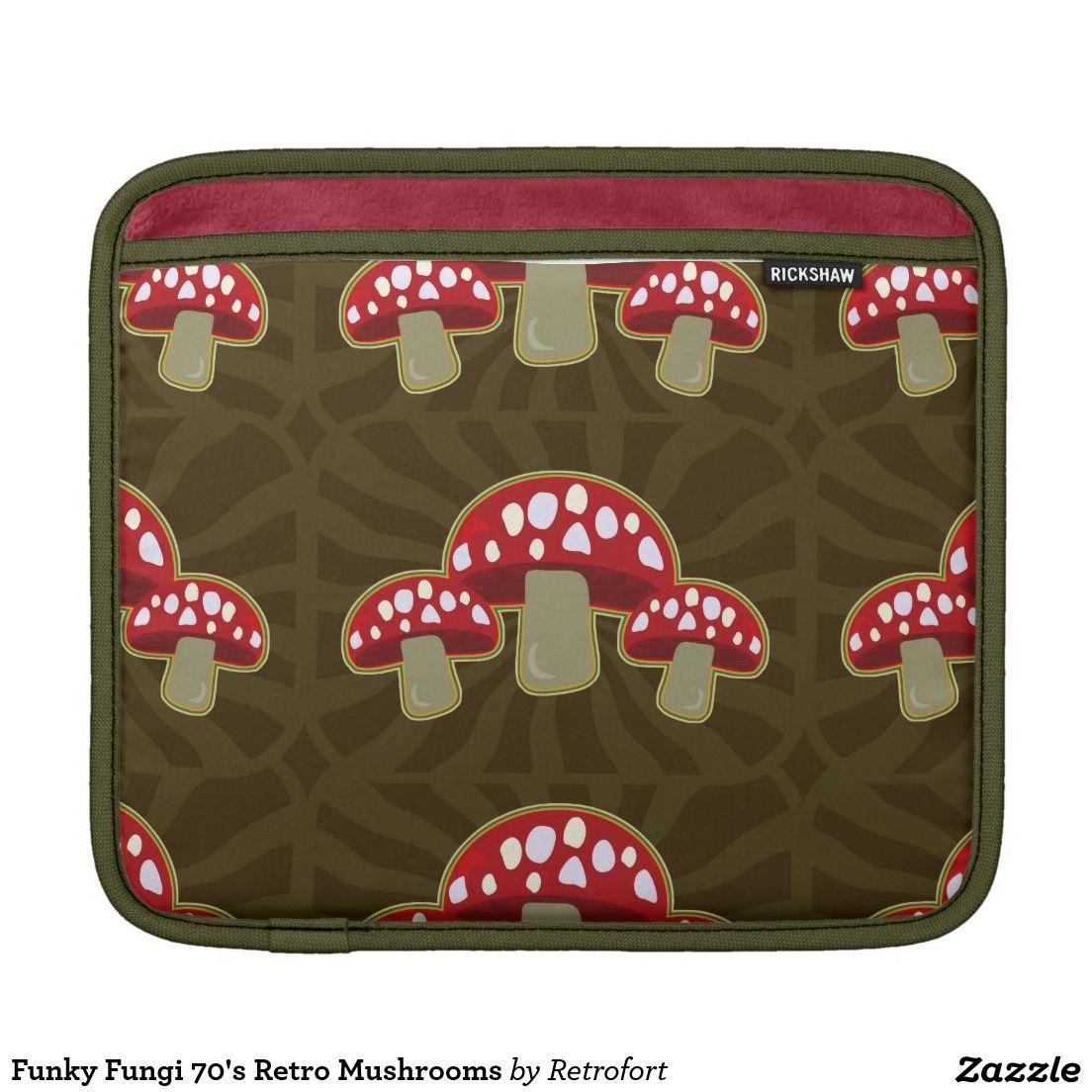 Funky Fungi 70's Retro Mushrooms Sleeves For iPads