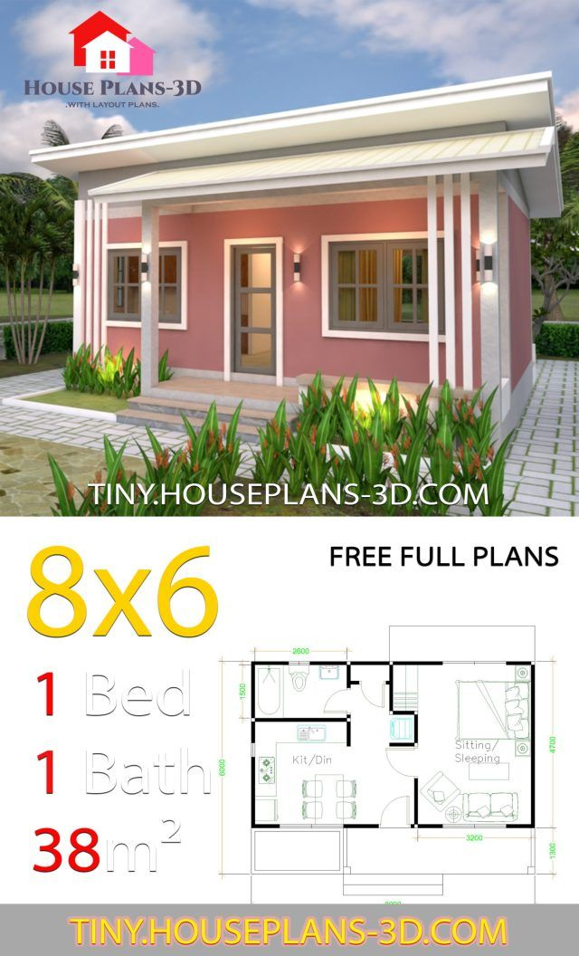 Small House Plans 8x6 With One Bedrooms Shed Roof Tiny House Plans Little House Plans Guest House Plans Tiny House Plans Small Cottages
