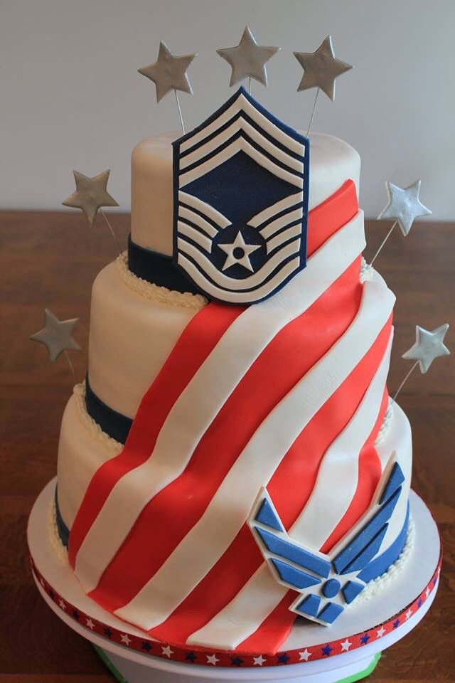 Promotion Cake I made for an Air Force CMSgt. Logos & stars made with Gumpaste, stars airbrushed with silver Facebook.com/CakesByChristiSmith