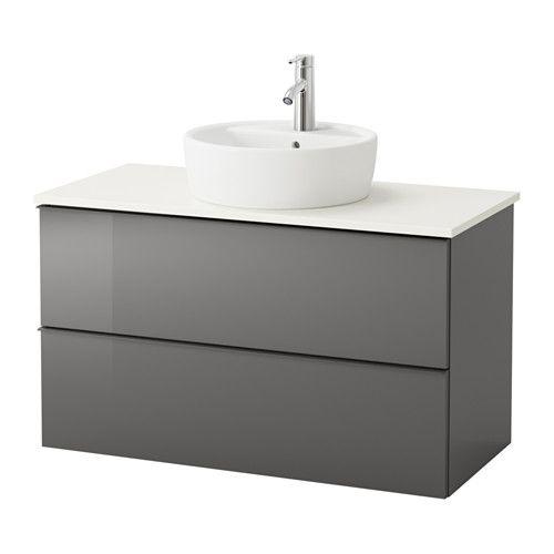 ikea godmorgon aldern t rnviken kast voor wastafel 45 v bovenblad wit hoogglans grijs. Black Bedroom Furniture Sets. Home Design Ideas