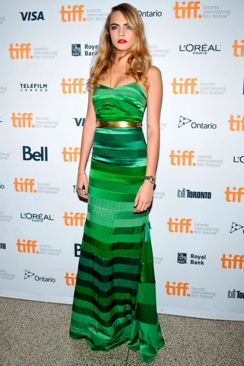 Cara Delevingne Wears A Floor Length Green Satin Dress To The Toronto Film Festival, 2014