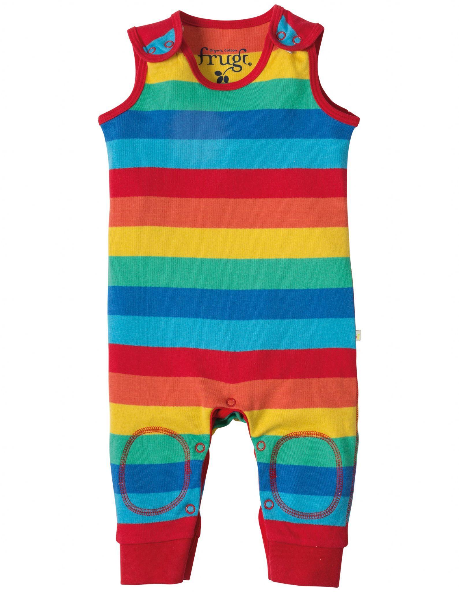 Frugi kneepatch dungarees Rainbow Stripe