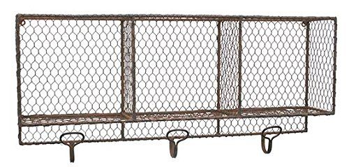 "Metal Wall Shelf Organizer With Hooks, 12""Hx6""Wx26""D, BROWN"