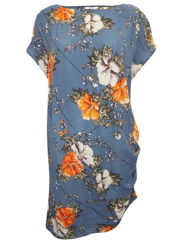 NEW TOAST SUZU VINTAGE BLUE ORANGE FLORAL TUNIC SMOCK DRESS RRP £145 6 to 16