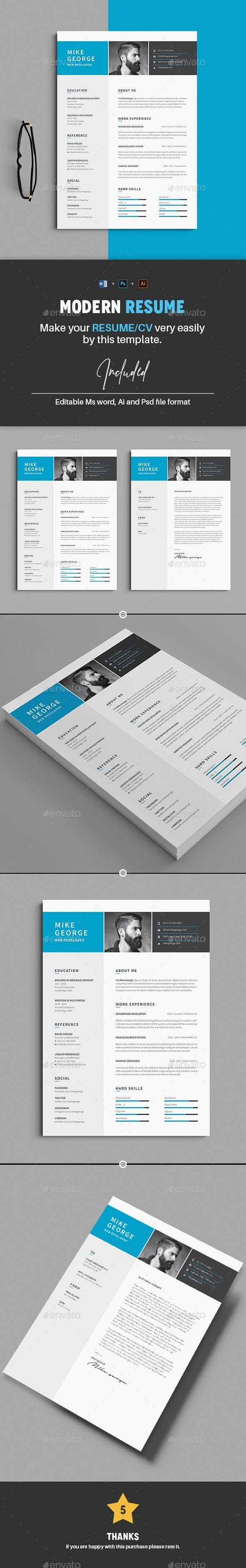 Resume Template PSD, Vector EPS, AI, MS Word AI EPS MS