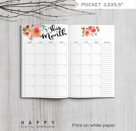 Printable Monthly Planner, Pocket Size Monthly Planner, Printable