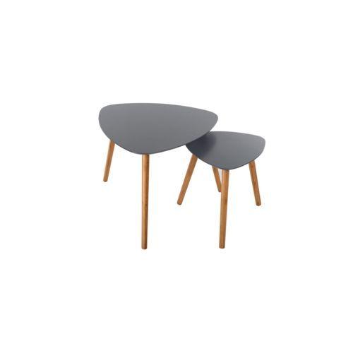 Rendez vous déco table basse scandinave grise lot de 2 grande table l 60 x l 60 x h 48 cm petite table l 40 x l 40 x h 42 cm pas cher achat vente