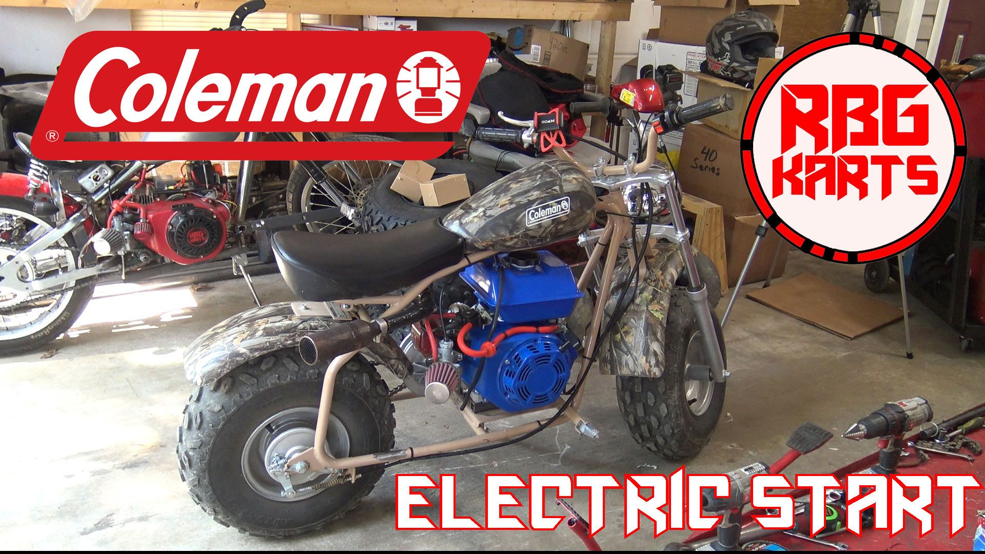 Red Beard's Garage installs an electric start 7.0hp engine on the Coleman  CT200U-EX mini bike. Still needs a little fine tuning and then that 50t  sprocket ...