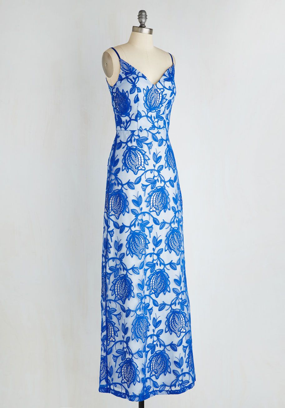 All Flora the Best Dress. When it comes to your annual garden party, only elegance will do, which is why youre debuting this sapphire maxi dress from Chi Chi London! #blue #modcloth