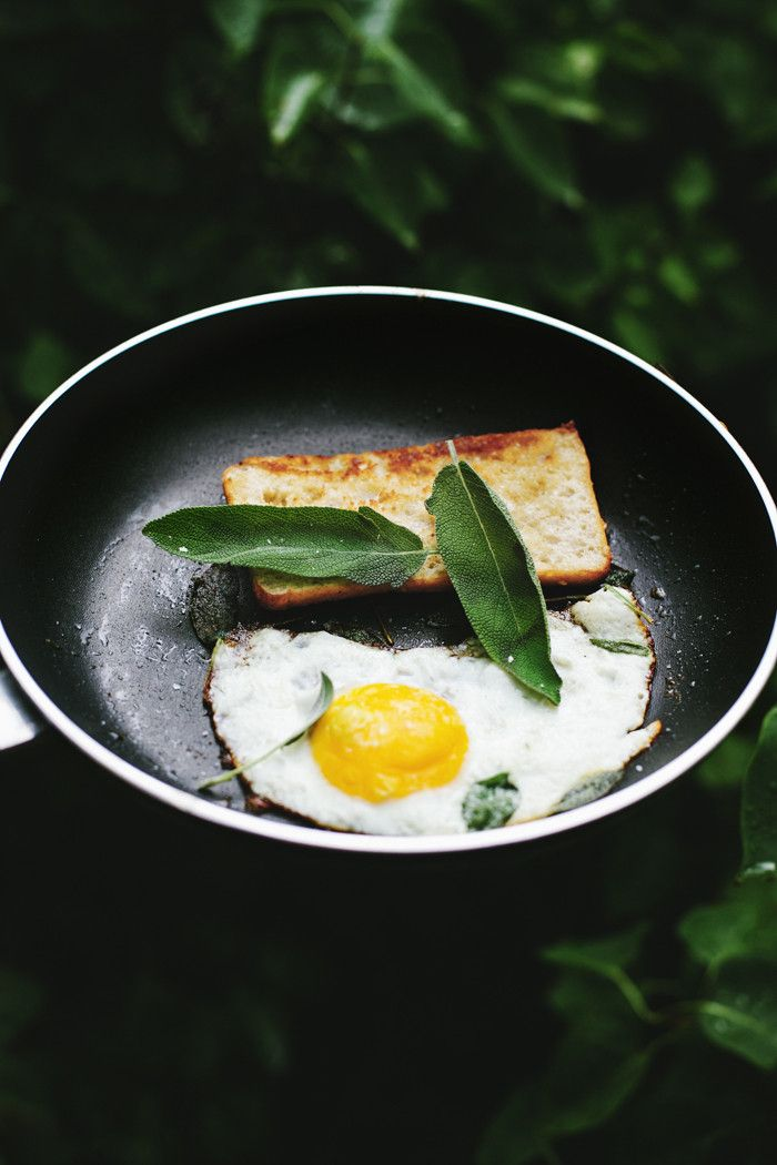 Fried egg. This time I used the classic pairing of sage and butter and fried an egg in it. Toast your bread in the leftover sage butter, pile on the egg and maybe some greens and serve with hot coffee.