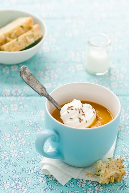 Roasted Carrot Soup (with lentils) & a Zucchini Gruyere Bread...via Inspiring The Everyday...