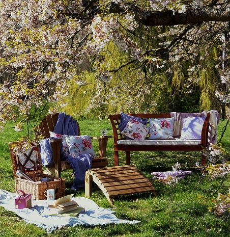 picnic adorable set up chairs blossoms baskets