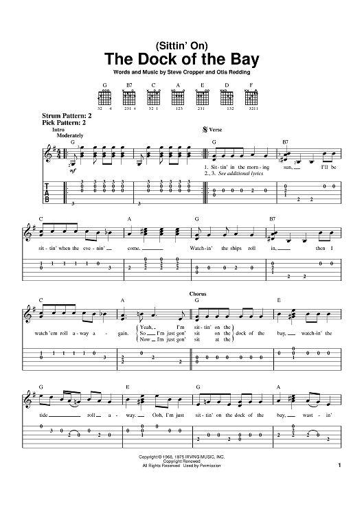 Sittin On The Dock Of The Bay Guitar Chords For Songs Guitar Lessons Fingerpicking Guitar Sheet Music