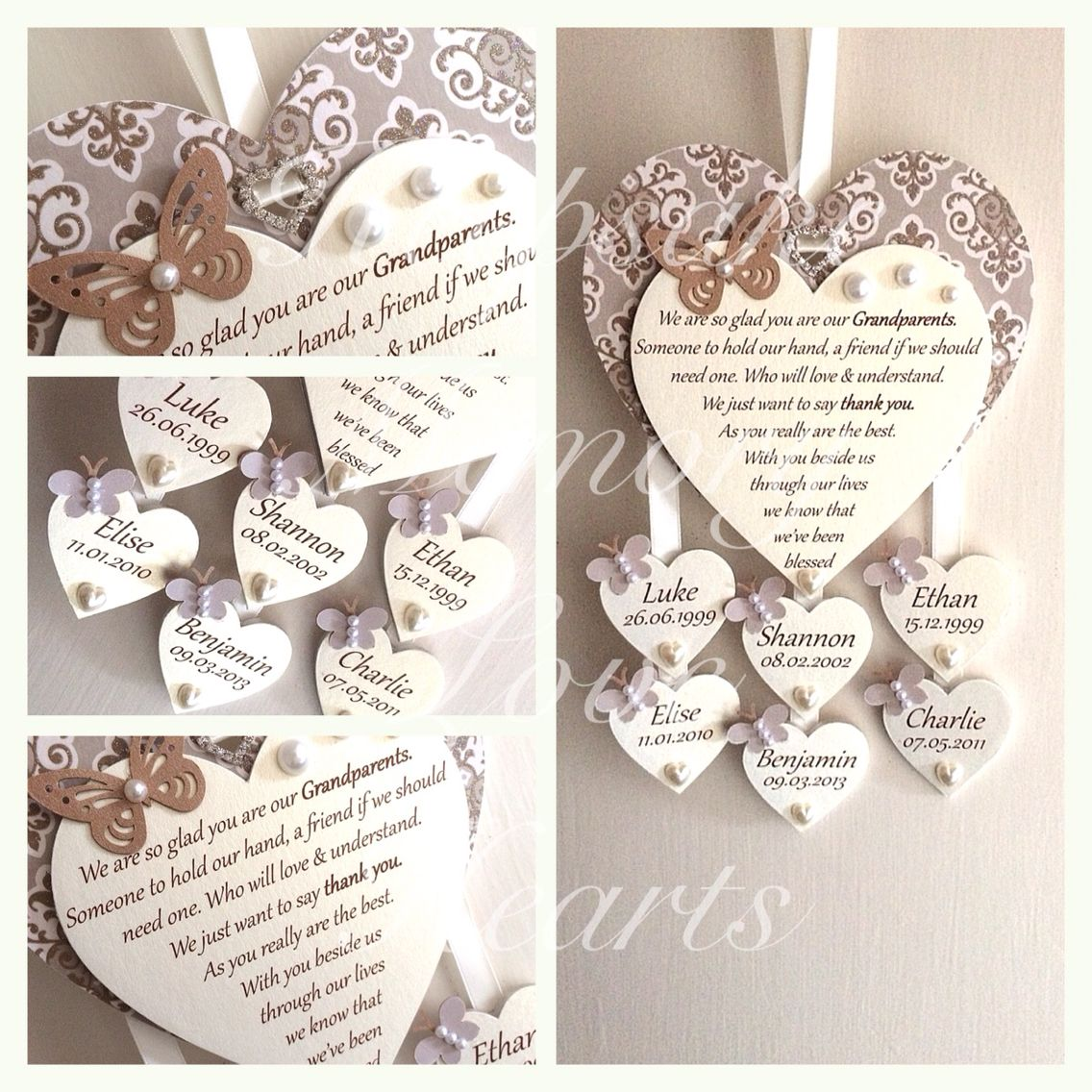 Grandparent gift personalised wooden keepsake heart with