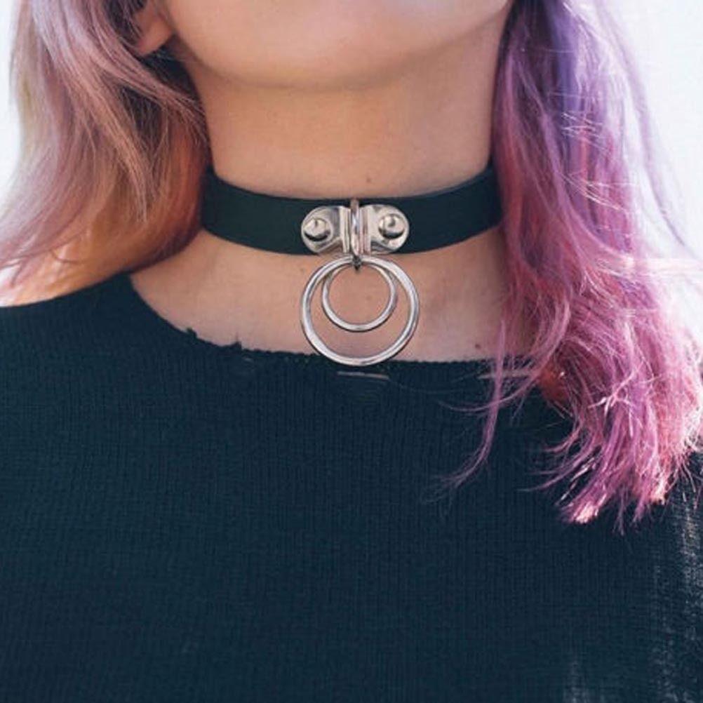 Choker Z Kolkami Silvona Leather Choker Collars Leather Collar Necklace Gothic Choker Necklace