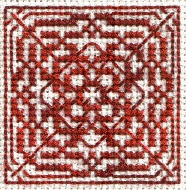 Free Geometric and Monochromatic Cross Stitch Patterns - Free Printable Charts: Photo of Free Mayan Temple Cross Stitch Pattern Model