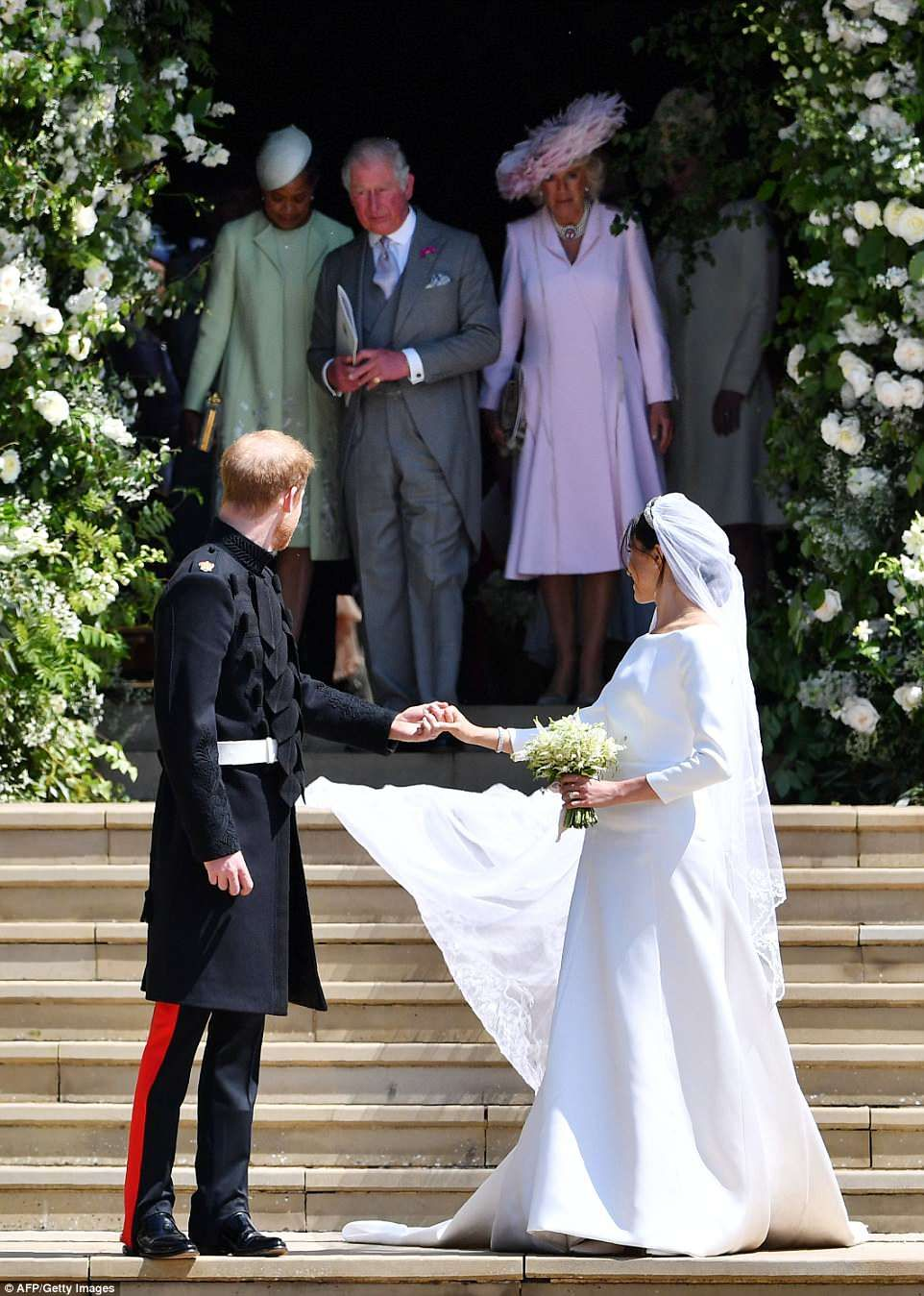 Meghan Wears Dress By British Designer Clare Waight Keller Of Givenchy Harry And Meghan Wedding Wedding Dresses Harry Wedding