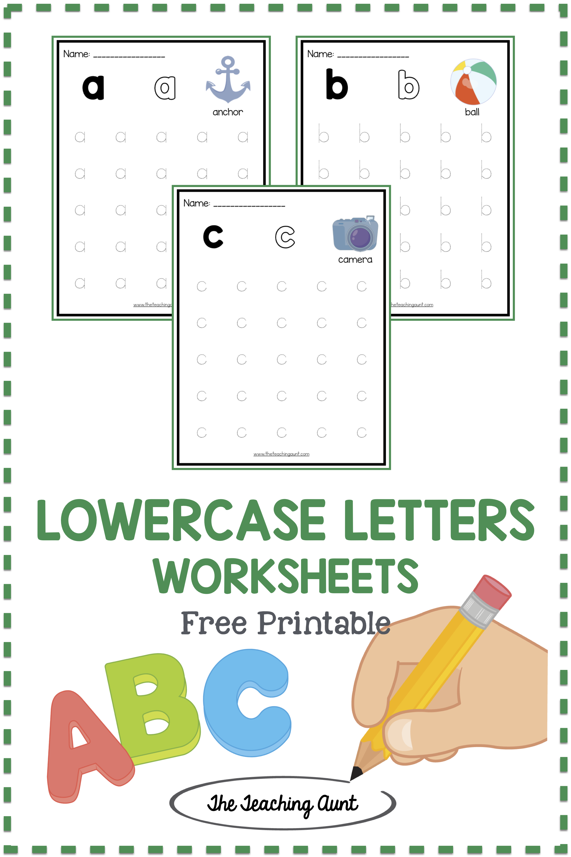 Lowercase Letters Tracing Worksheets Set 1