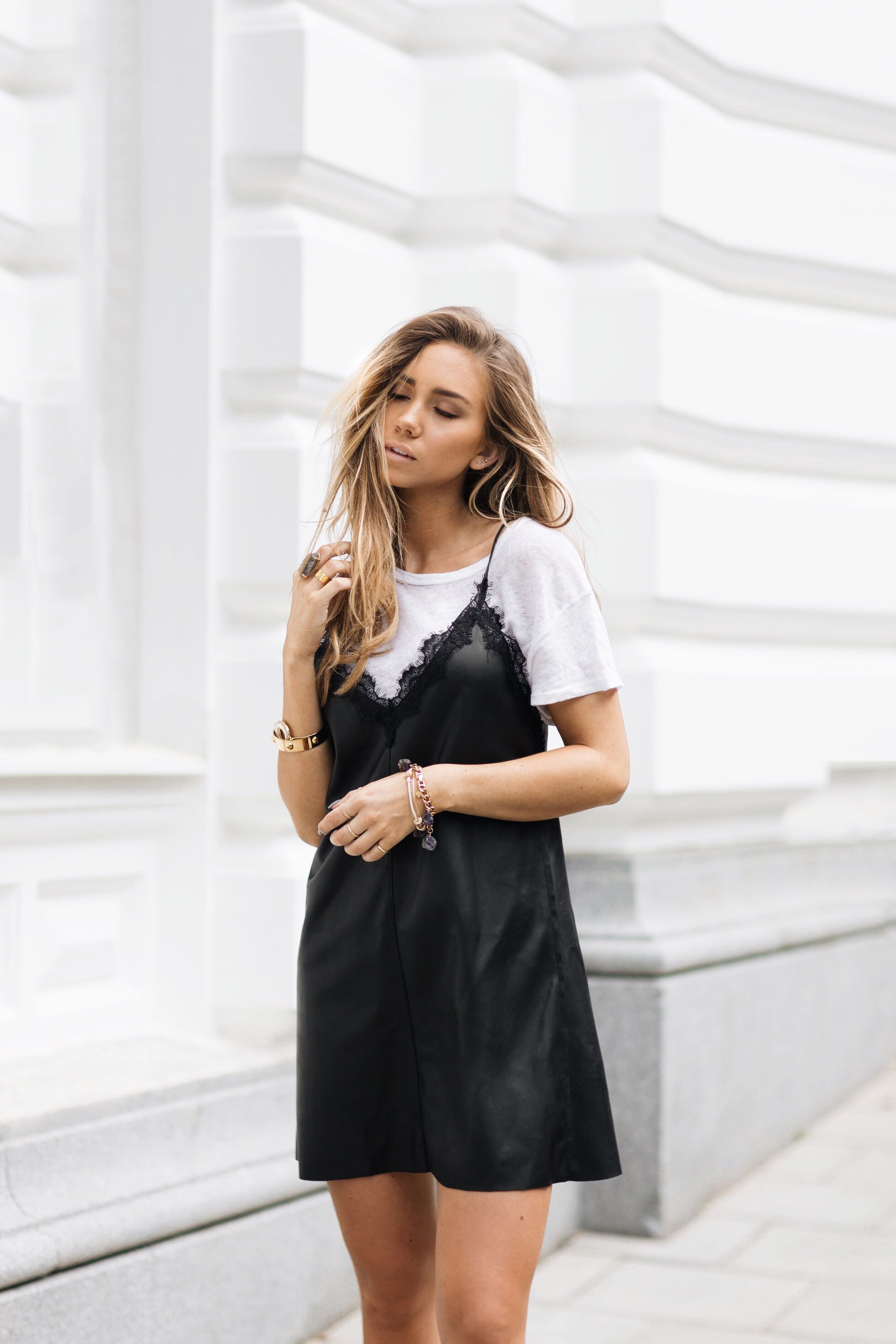 White Shirt Under Slip Dress