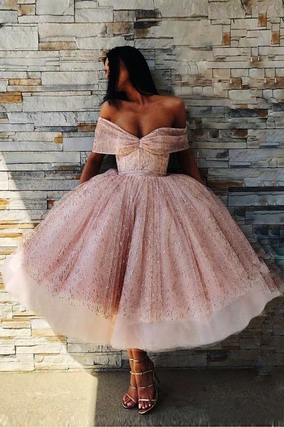 off the shoulder ball gown prom dress glamorous pink tea length prom dress with sequins charming off the shoulder ball gown prom dress glamorous pink tea length prom dres...