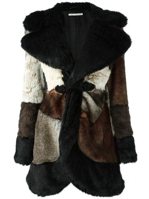 ALESSANDRA RICH fur effect patchwork coat. #alessandrarich #cloth #coat