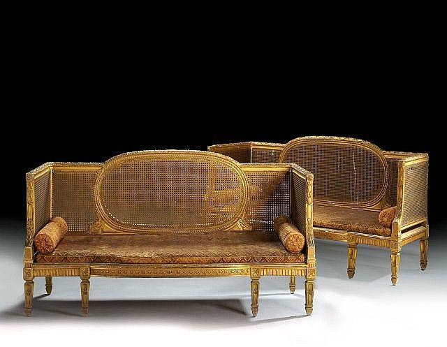 paire de banquettes canees de style louis xvi antique furniture french pinterest louis xvi. Black Bedroom Furniture Sets. Home Design Ideas
