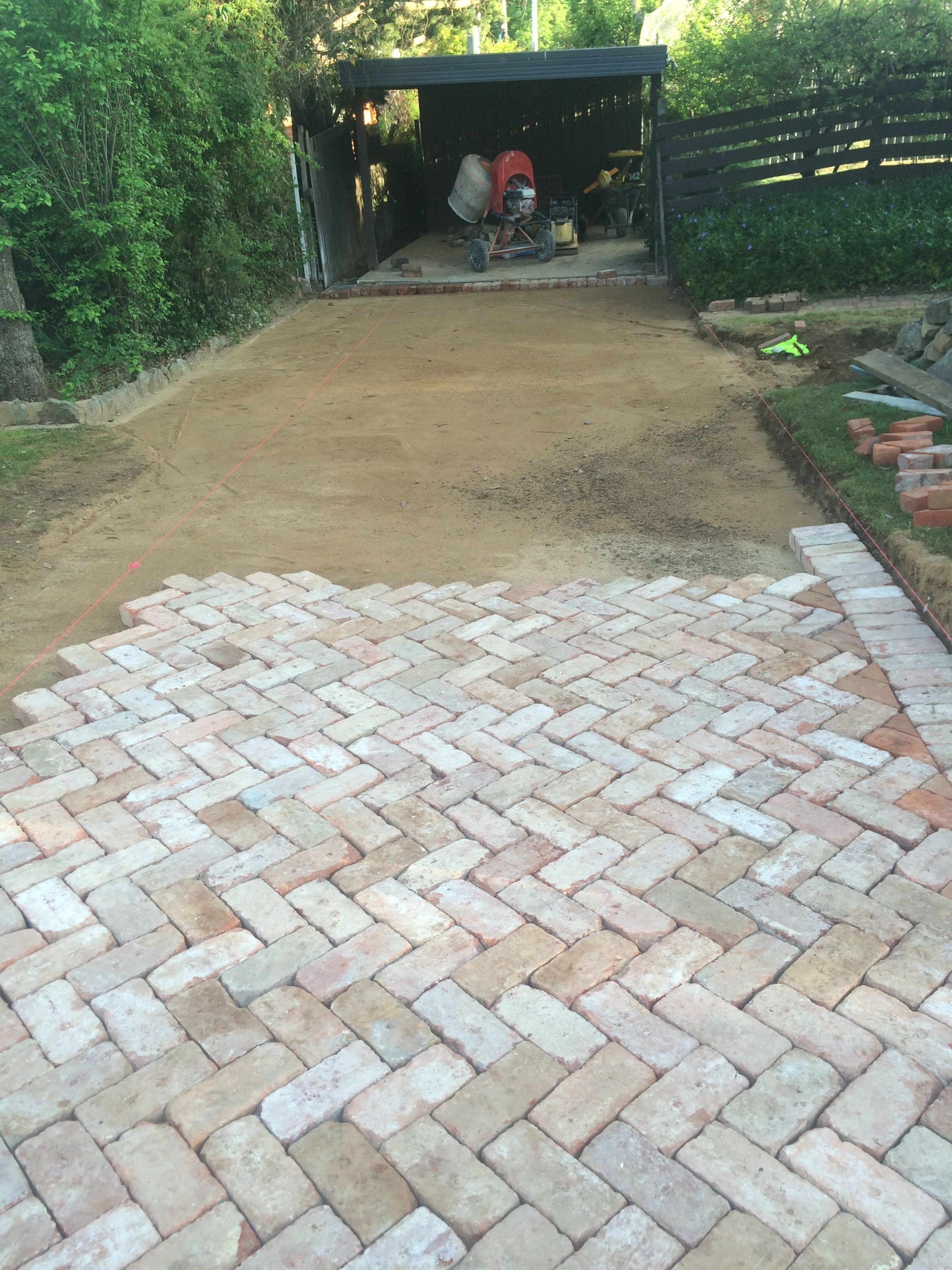 Bedding Sand And Paving In Progress Canberra Red Brick
