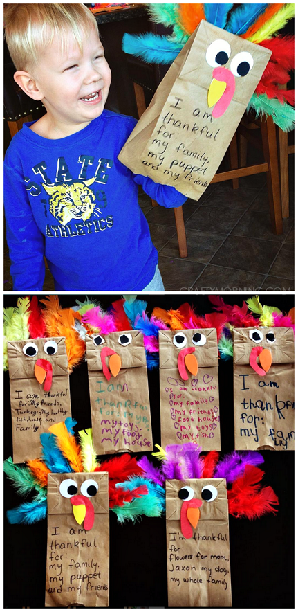 Paper bag turkey puppets - cute Thanksgiving craft for kids to make! #fallactivitiesforkids
