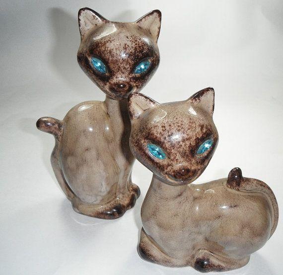Vintage 1950s Pair Of Cat Statues Jewel Eyes Ceramic Mid
