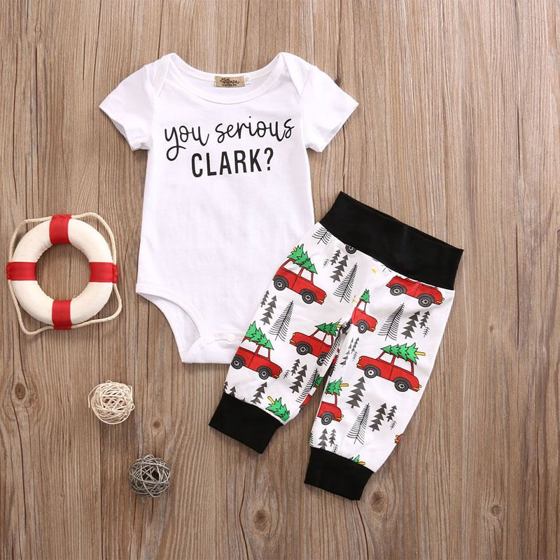 cf203e86404 Infant Baby Boy Girl Clothes Set Kids Short Sleeve You Serious Clark  Letters Romper Tops Car Print Pants Outfit Set