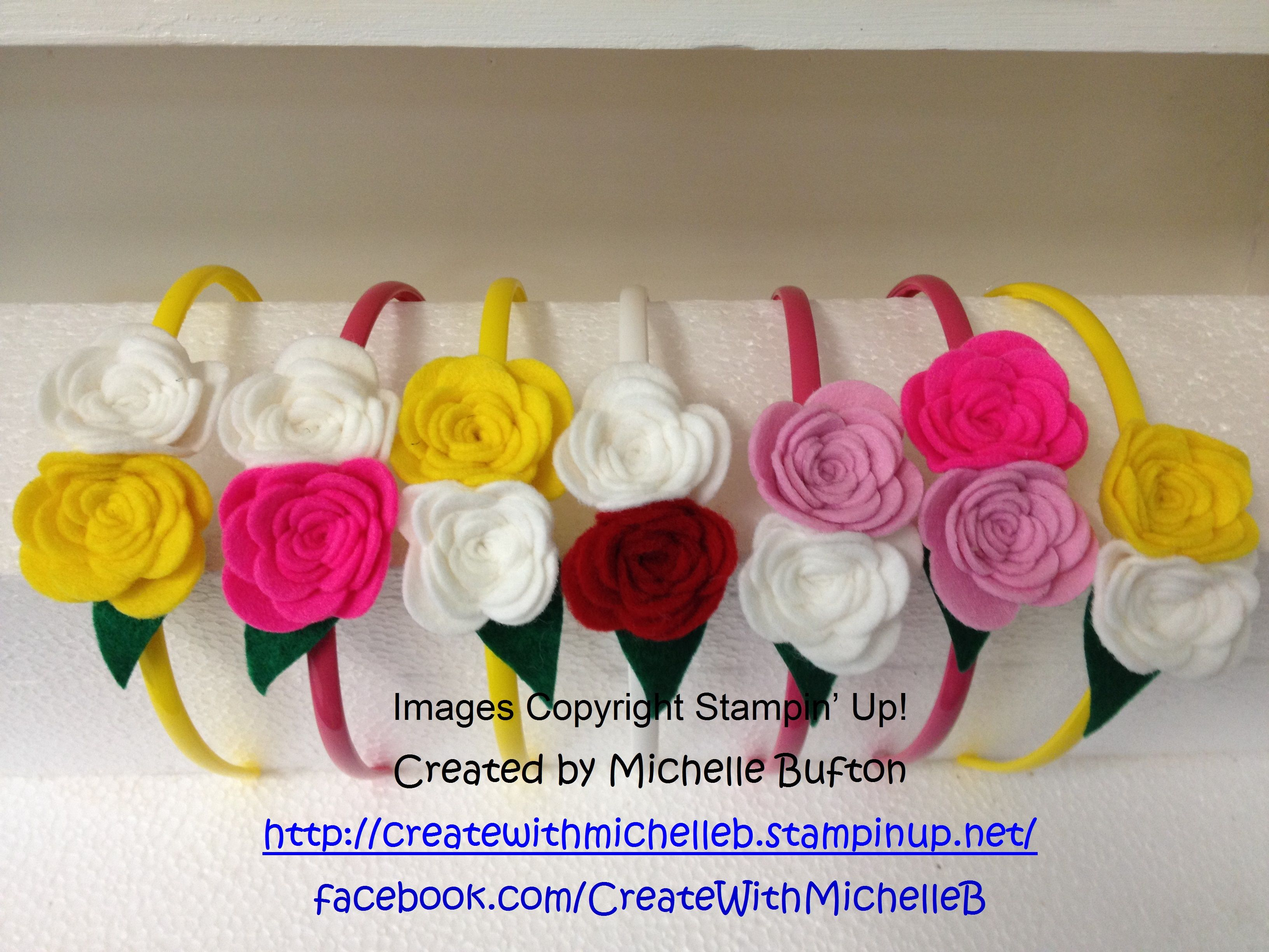 Head bands created with the New Spiral Flower Originals Die by Stampin' Up!. Available to order from the 28th January. CreatewithMichelleB | Michelle Bufton – Independent Stampin' Up! Demonstrator | http://createwithmichelleb.stampinup.net/ | https://www.facebook.com/CreateWithMichelleB