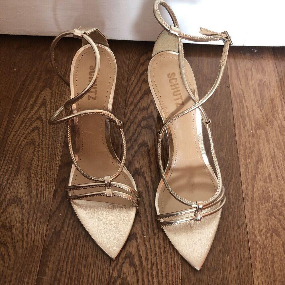 a8f1a7511e schutz Evelyn size 9.5 gold metallic pointy triangle toe heel. #fashion  #clothing #