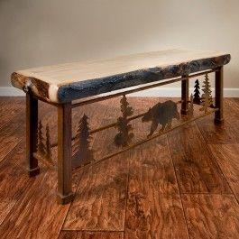Aspen Metal Dining Bench Rustic Log Furniture Diy Patio Furniture Western Furniture
