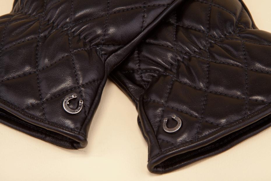 Women's mitten gloves in black napa. - Guanti a manopola neri per donna.