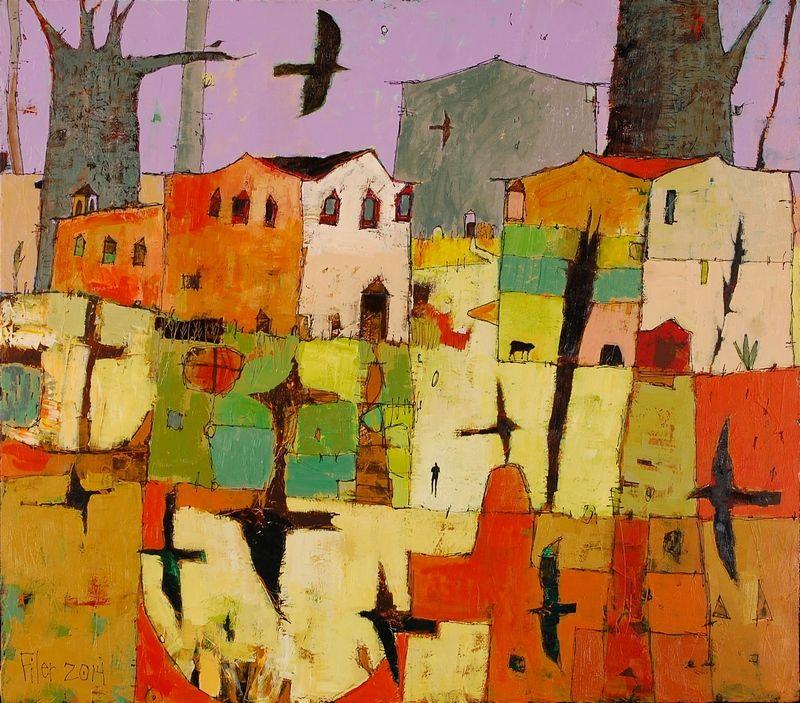 "Bird Crossing by Jane Filer, acrylic on canvas, 36"" x 22"""
