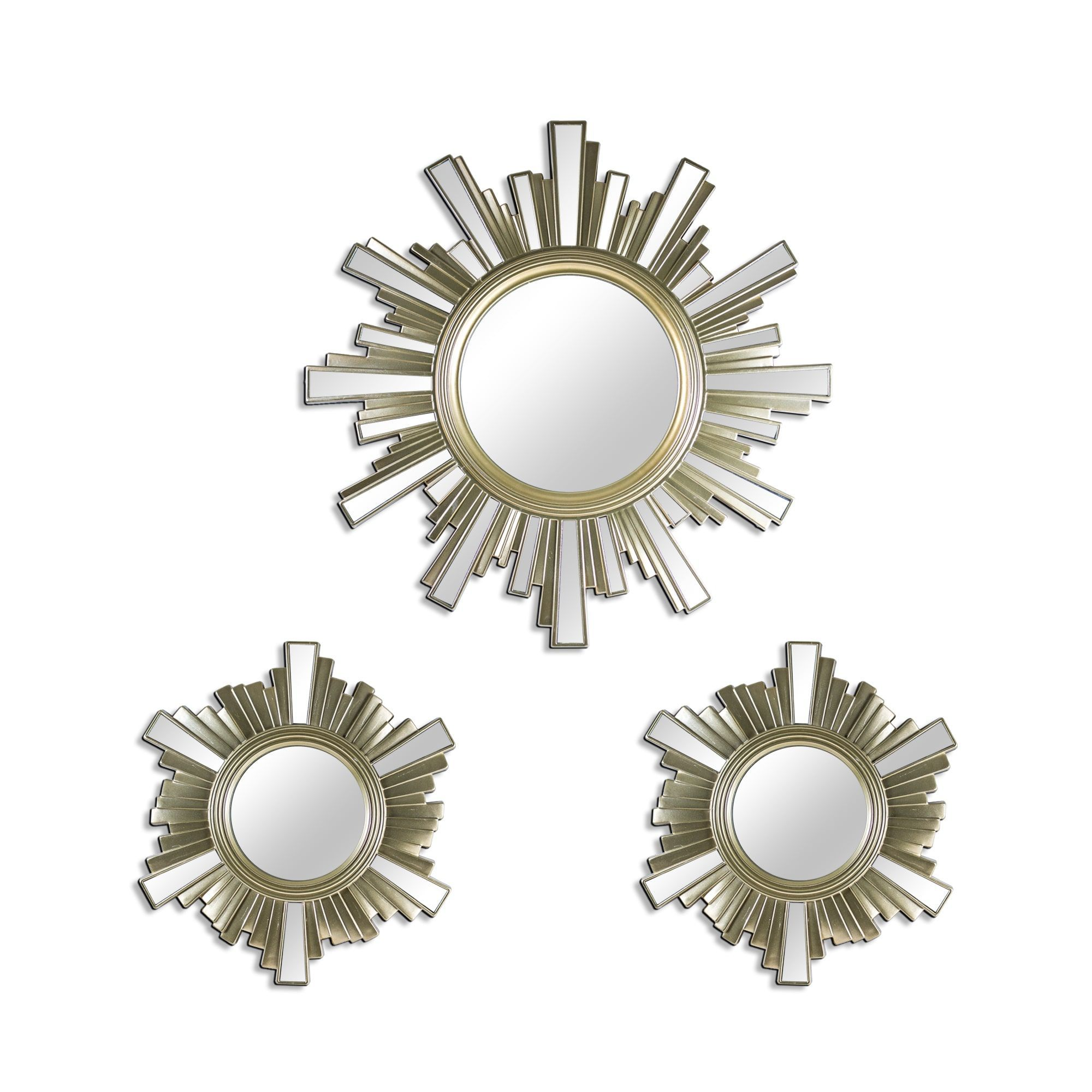 Gallery Art Deco Skyline Gold Sunburst Decorative Framed Wall Mirrors Set Of 3 Piece Beige Champagne