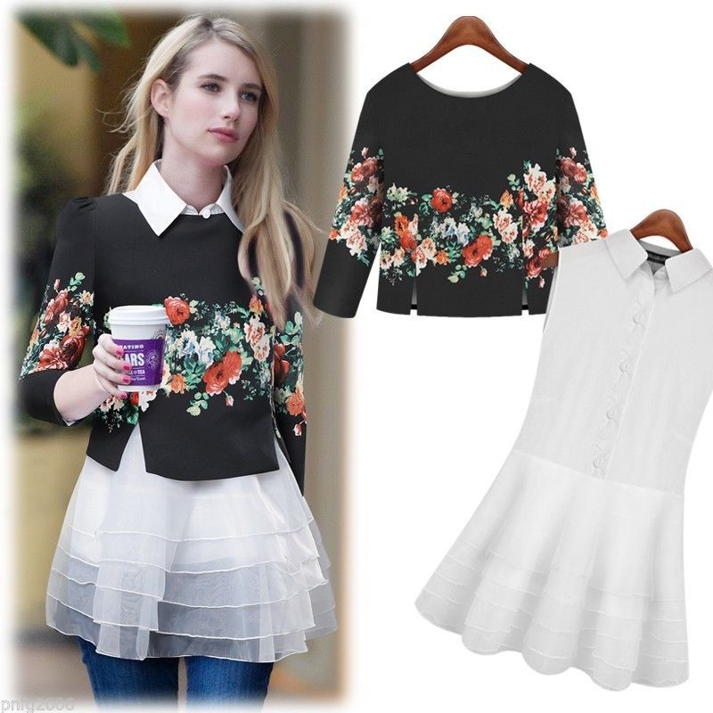 New 2014 two-piece fashion women's clothing very nice #ZARA #flowers #Casual