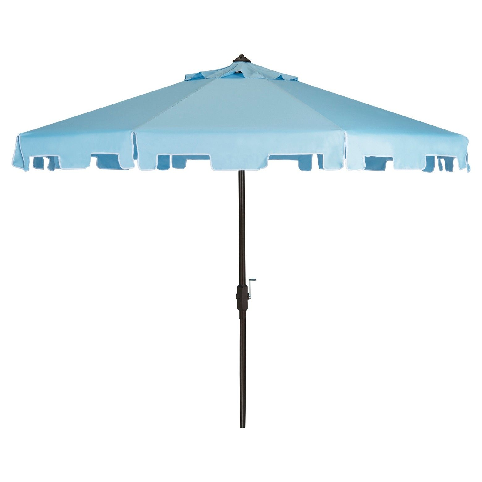 A classic market umbrella gets a chic makeover with fashion-forward fabric and a valance for extra sun protection and European flair. Its nine-foot polyester canopy and sturdy brown aluminum frame make it the ideal umbrella for veranda or pool deck. Includes easy crank and tilt mechanism.