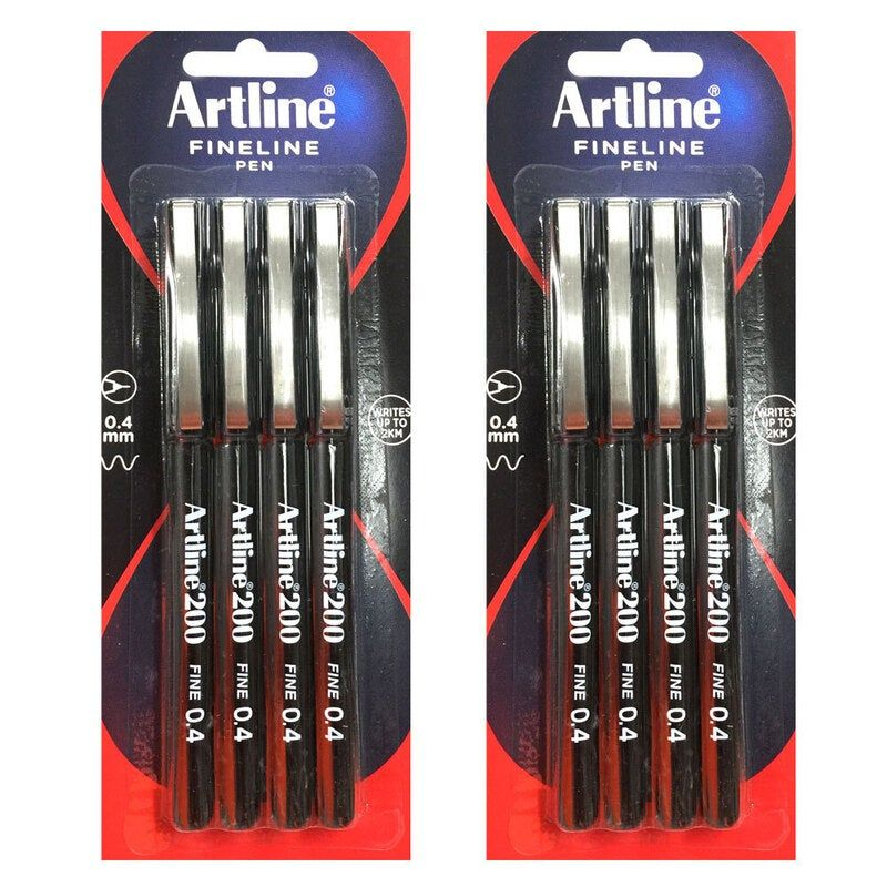 8pc Artline 220 Fine 0.4mm Line Work/School Fineline Drawing Writing Pen Black Gallery