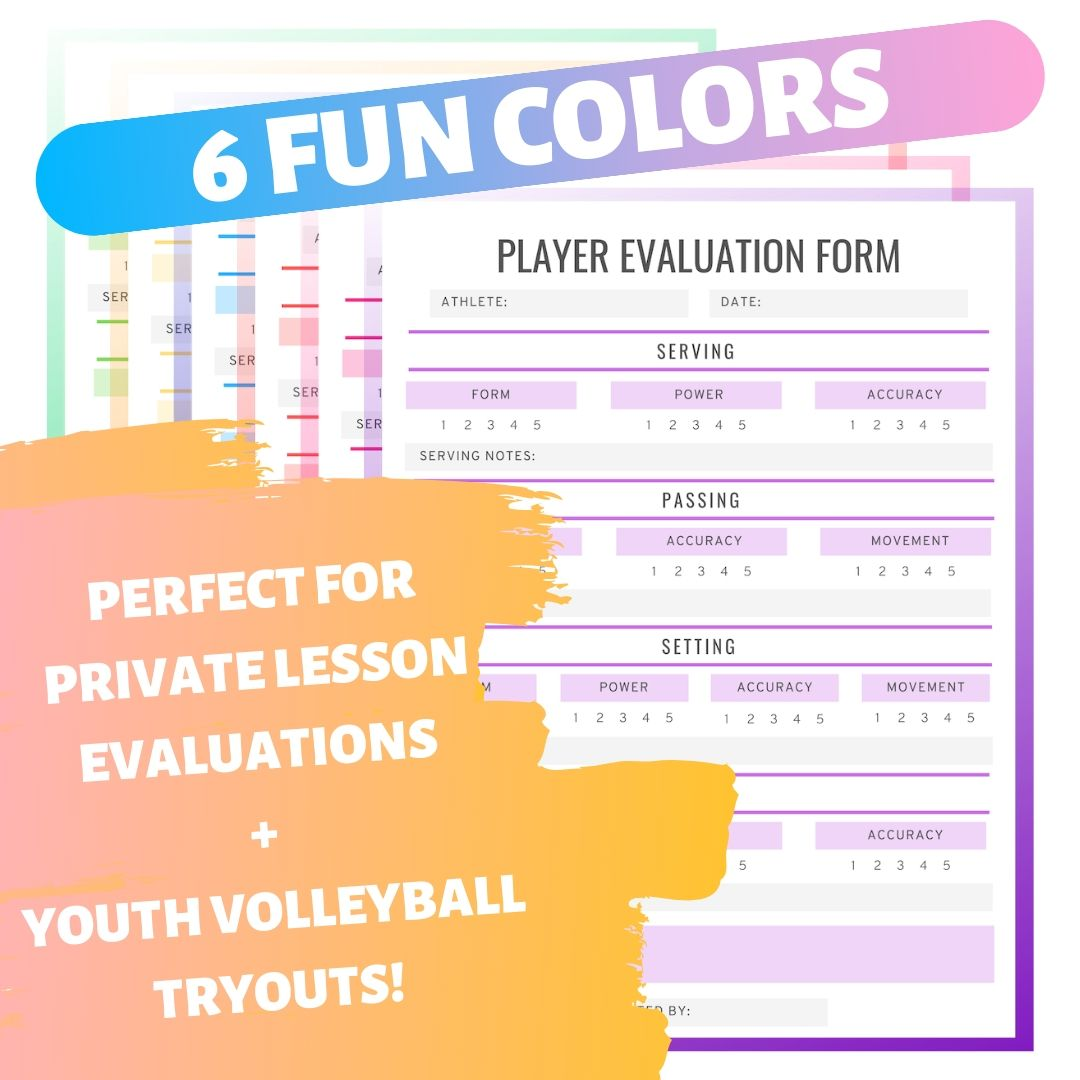 Colorful Player Evaluation Form Coaching Volleyball Evaluation Form Volleyball Tryouts