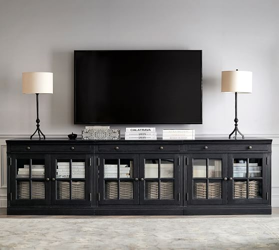 Livingston 105 Media Console In 2020 Tv Stand With Glass Doors