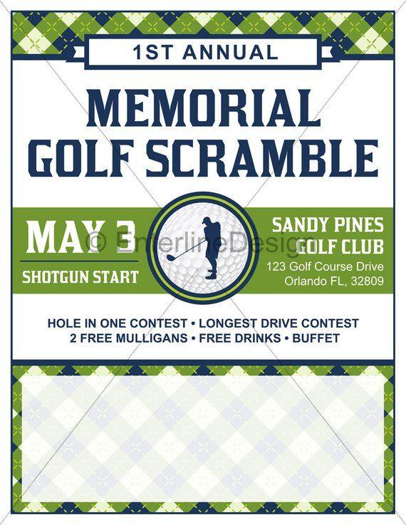 Golf Tournament Flyer Poster Template Invitation Custom Digital