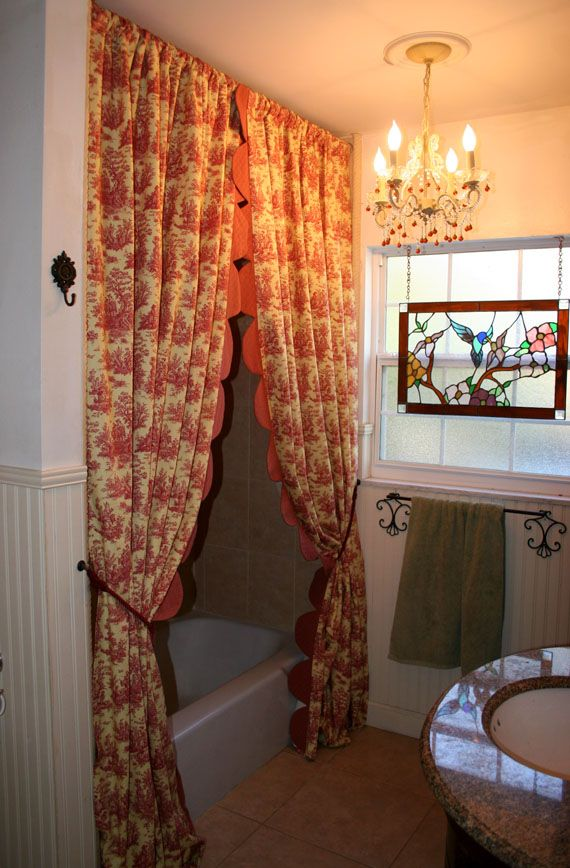 Love Dressing My Shower With Pretty French Toile Drapery A Scalloped Edge
